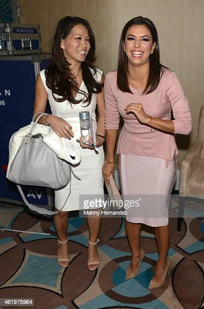 Keli Lee and Eva Longoria attends NATPE Day 3 at Fontainebleau Miami Beach on January 22 2015 in Miami Beach Florida