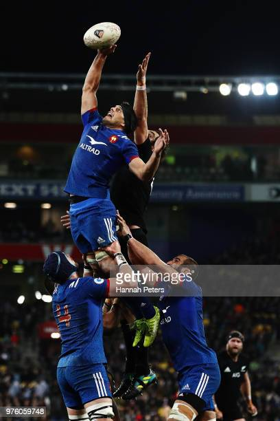 Kelian Galletier of France wins lineout ball during the International Test match between the New Zealand All Blacks and France at Westpac Stadium on...