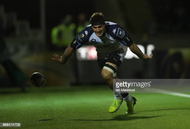 Kelian Galletier of Montpellier celebrates after he breaks through to score his team's secondt try during the European Rugby Champions Cup match...