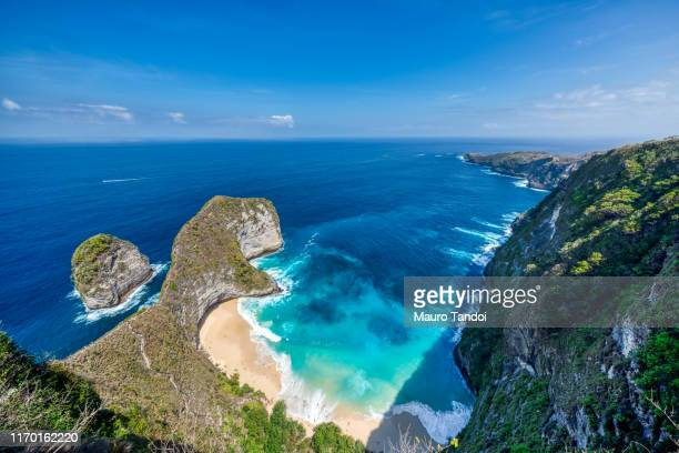 kelingking beach, nusa penida - mauro tandoi stock pictures, royalty-free photos & images