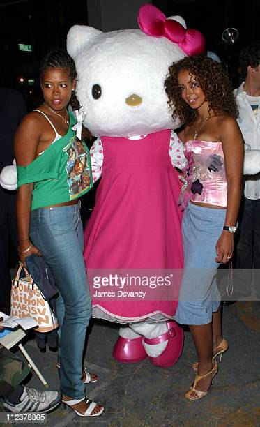 Kelis and Mya Hello Kitty during Heatherette Spring 2003 Collection at Hudson Street in New York City New York United States