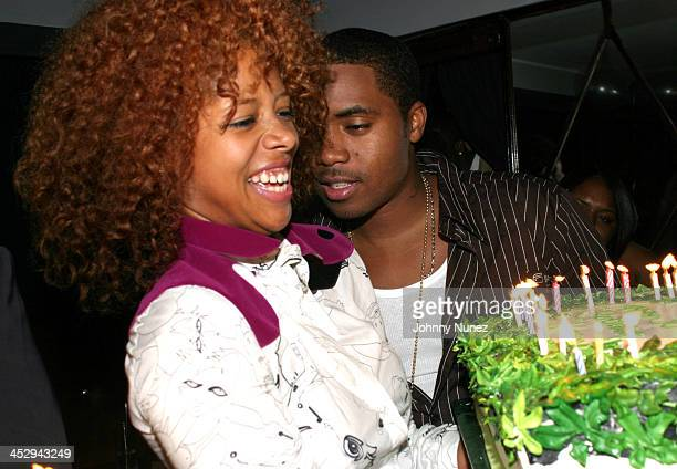 Kelis and Nas during Nas' Birthday Party at Ocean's 21 in New York City, New York, United States.