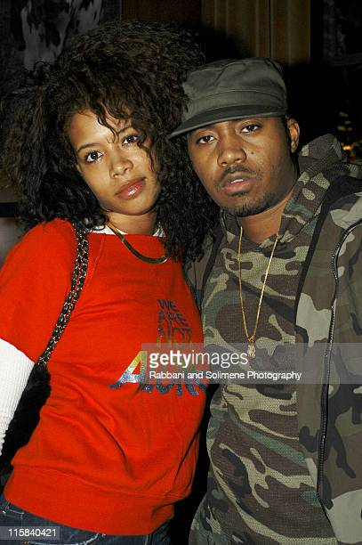 Kelis and Nas during Olympus Fashion Week Fall 2005 Matthew Williamson After Party at Hudson Hotel in New York New York United States