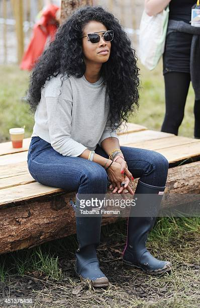 Kelis attends the backstage compound at Glastonbury Festival at Worthy Farm on June 27 2014 in Glastonbury England
