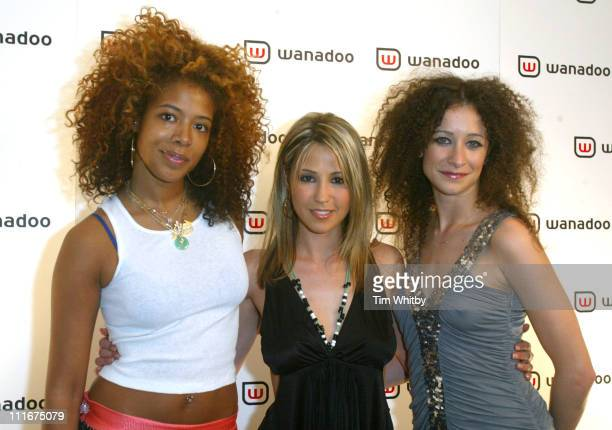 Kelis Rachel Stevens and Leah Wood during Freeserve Changes Its Name to Wanadoo Launch Party at The Scala Kings Cross in London United Kingdom