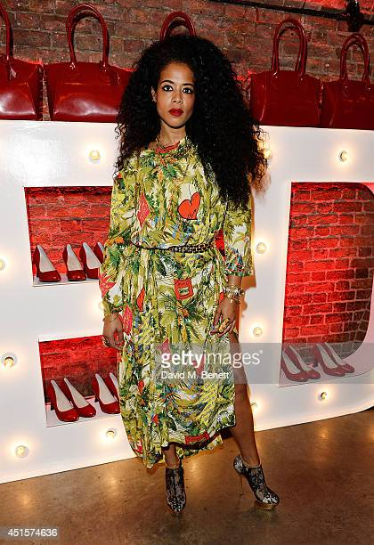 Kelis wearing Vivienne Westwood attends the launch party to celebrate Virgin Atlantic's new Vivienne Westwood uniform collection at Village...