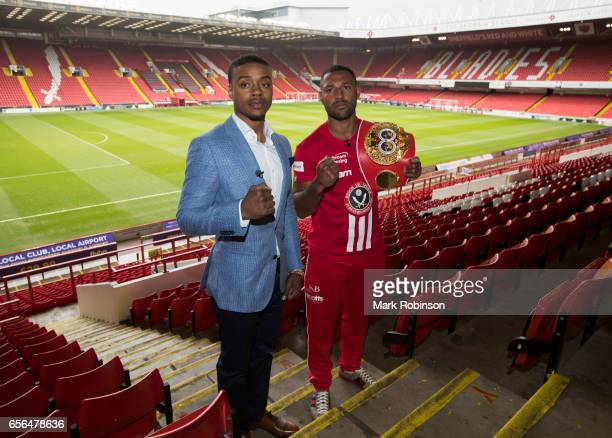 Kell Brook and Errol Spence hold a press conference to announce their fight on 27th May 2017 at Bramall lane on March 22 2017 in Sheffield England