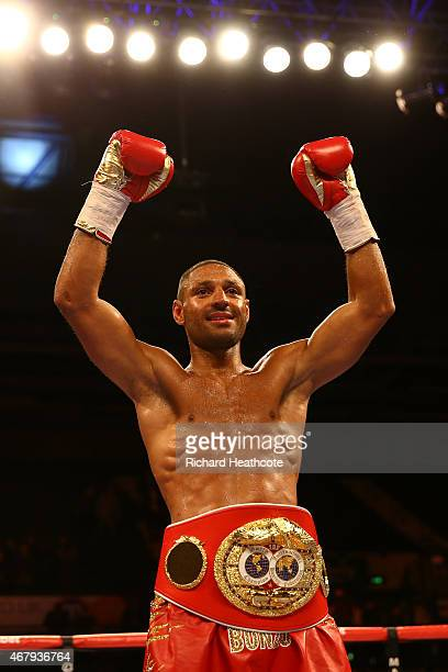 Kell Brook celebrates after beating Jo Jo Dan during their IBF World Welterweight Title Fight at the Motorpoint Arena on March 28 2015 in Sheffield...