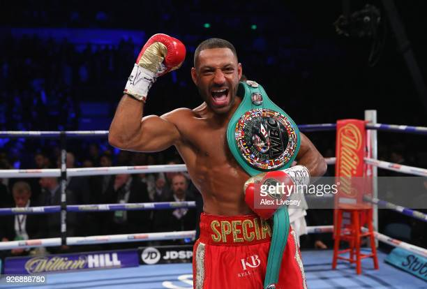 Kell Brook celebrates after defeating Sergey Rabchenko to win the Super-Welterweight contest at Sheffield Arena on March 3, 2018 in Sheffield,...