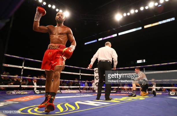 Kell Brook celebrates after knocking Mark DeLuca down during the WBO Intercontiental SuperWelterweight Title Fight between Kell Brook and Mark DeLuca...