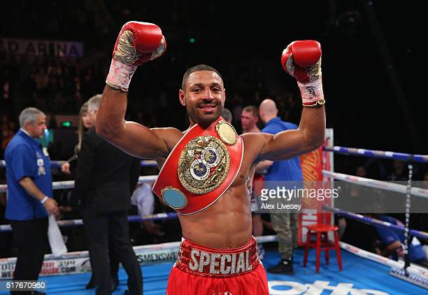 Kell Brook celebrates victory over Kevin Bizier in the second round of the IBF World Welterweight Championship fight between Kell Brook and Kevin...