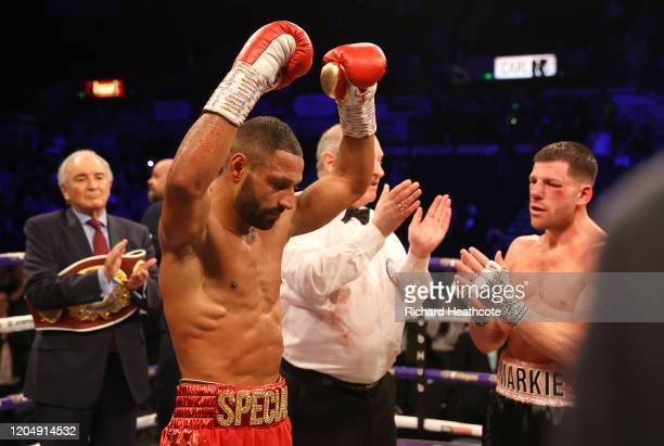 Kell Brook celebrates victory over Mark DeLuca after the WBO Intercontiental SuperWelterweight Title Fight between Kell Brook and Mark DeLuca at...