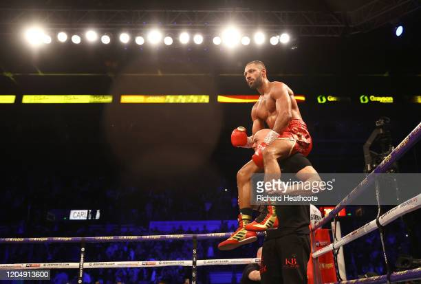 Kell Brook celebrates victory with his trainer Dominic Ingle after the WBO Intercontiental Super-Welterweight Title Fight between Kell Brook and Mark...