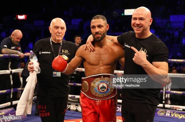 Kell Brook celebrates victory with his trainer Dominic Ingle and the WBO Intercontiental SuperWelterweight belt after the WBO Intercontiental...