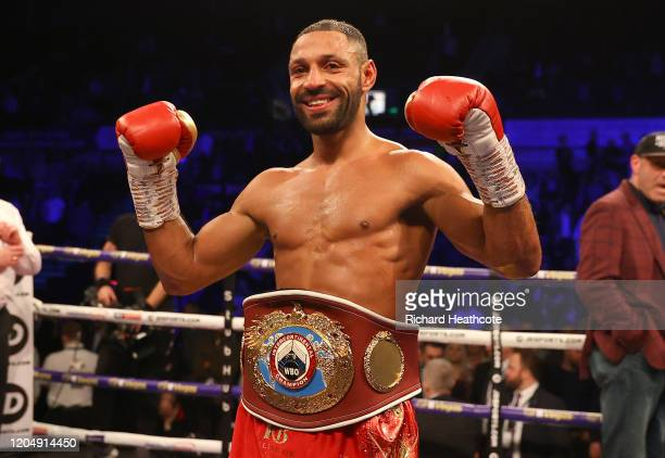 Kell Brook celebrates victory with the WBO Intercontiental Super-Welterweight belt after the WBO Intercontiental Super-Welterweight Title Fight...