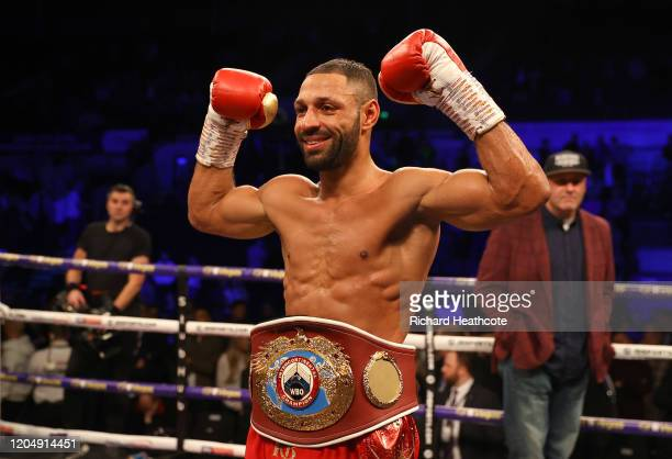 Kell Brook celebrates victory with the WBO Intercontiental SuperWelterweight belt after the WBO Intercontiental SuperWelterweight Title Fight between...