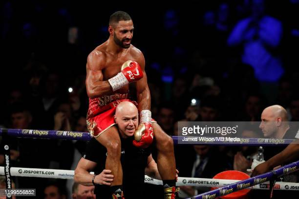 Kell Brook celebrates with Dominic Ingle after winning the WBO InterContinantal Super Welterweight title fight between Kell Brook and Mark DeLuca at...