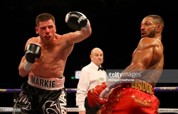 Kell Brook dodges a punch from Mark DeLuca during the WBO Intercontiental SuperWelterweight Title Fight between Kell Brook and Mark DeLuca at FlyDSA...