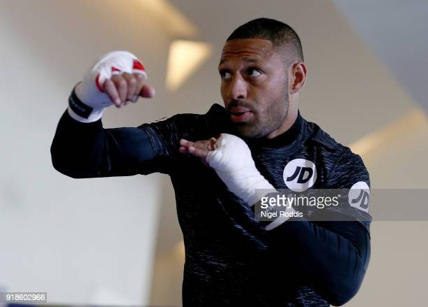 Kell Brook during a public workout at the Crucible Theatre on February 15 2018 in Sheffield England Brook fights Sergey Rabchenko in a...