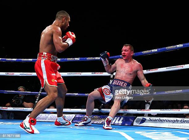 Kell Brook knocks down and stops Kevin Bizier in the second round during his victory in the IBF World Welterweight Championship between Kell Brook...