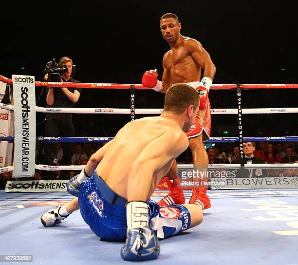 Kell Brook knocks down Jo Jo Dan during their IBF World Welterweight Title Fight at the Motorpoint Arena on March 28 2015 in Sheffield England