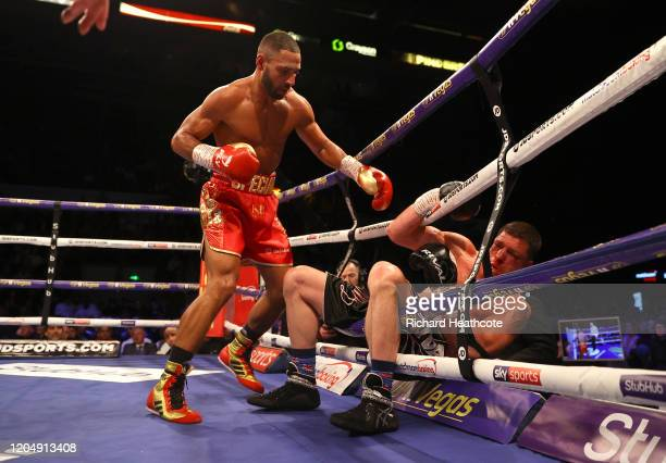Kell Brook knocks down Mark DeLuca during the WBO Intercontiental SuperWelterweight Title Fight between Kell Brook and Mark DeLuca at FlyDSA Arena on...