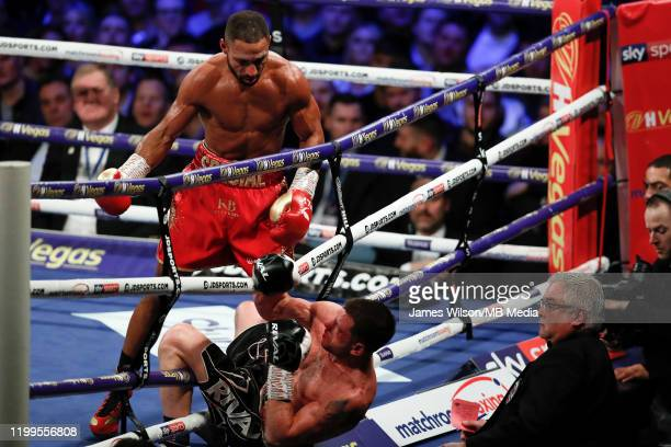Kell Brook knocks Mark DeLuca out of the ring during the WBO InterContinantal Super Welterweight title fight between Kell Brook and Mark DeLuca at...