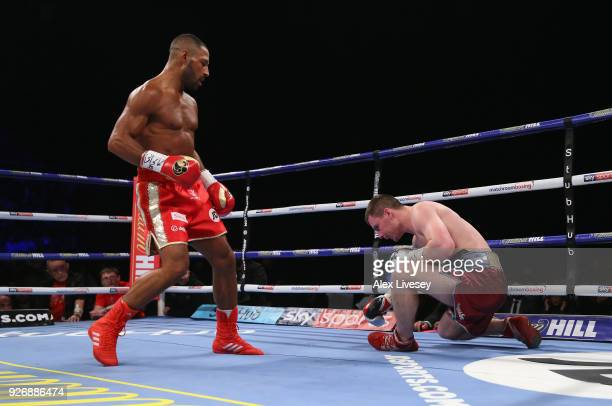 Kell Brook knocks Sergey Rabchenko out to win the Super-Welterweight contest at Sheffield Arena on March 3, 2018 in Sheffield, England.
