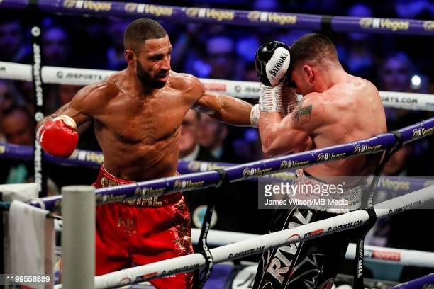 Kell Brook lands a big left on Mark DeLuca during the WBO InterContinantal Super Welterweight title fight between Kell Brook and Mark DeLuca at...