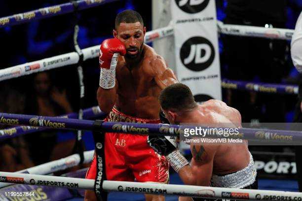 Kell Brook lands a jab on Mark DeLuca during the WBO InterContinantal Super Welterweight title fight between Kell Brook and Mark DeLuca at FlyDSA...