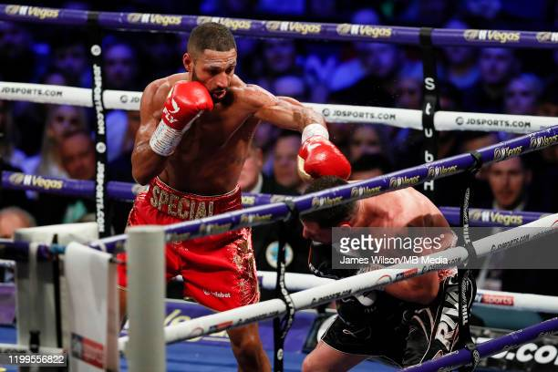 Kell Brook lands a left hand on Mark DeLuca that knocked him out of the ring during the WBO InterContinantal Super Welterweight title fight between...