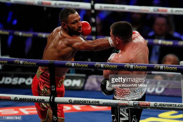 Kell Brook lands a right on Mark DeLuca during the WBO InterContinantal Super Welterweight title fight between Kell Brook and Mark DeLuca at FlyDSA...