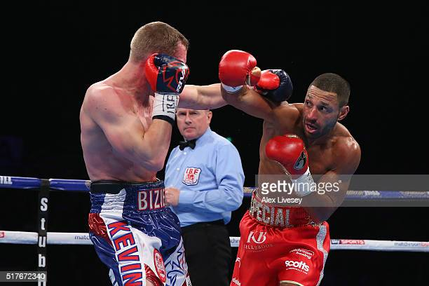 Kell Brook lands a right shot on Kevin Bizier during the IBF World Welterweight Championship between Kell Brook and Kevin Bizier at Sheffield Arena...
