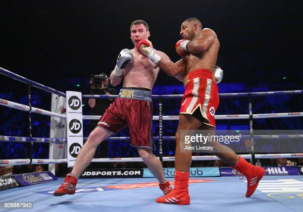 Kell Brook lands a right shot on Sergey Rabchenko during the SuperWelterweight contest at Sheffield Arena on March 3 2018 in Sheffield England