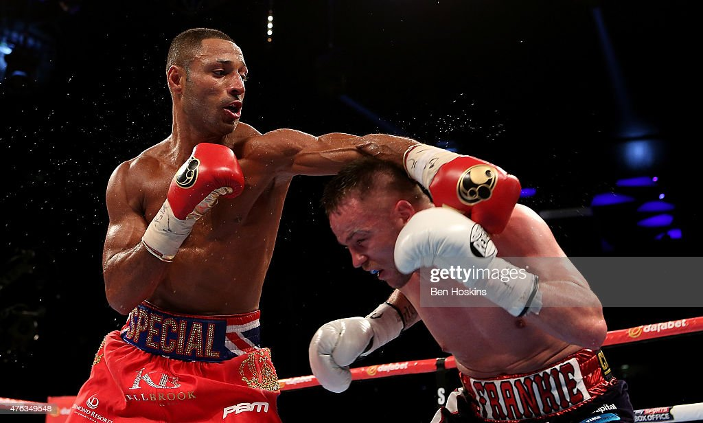 Kell Brook of Engalnd and Frankie Gavin of England exchange blows during their IBF World Welterweight Championship bout at The O2 Arena on May 30, 2015 in London, England.
