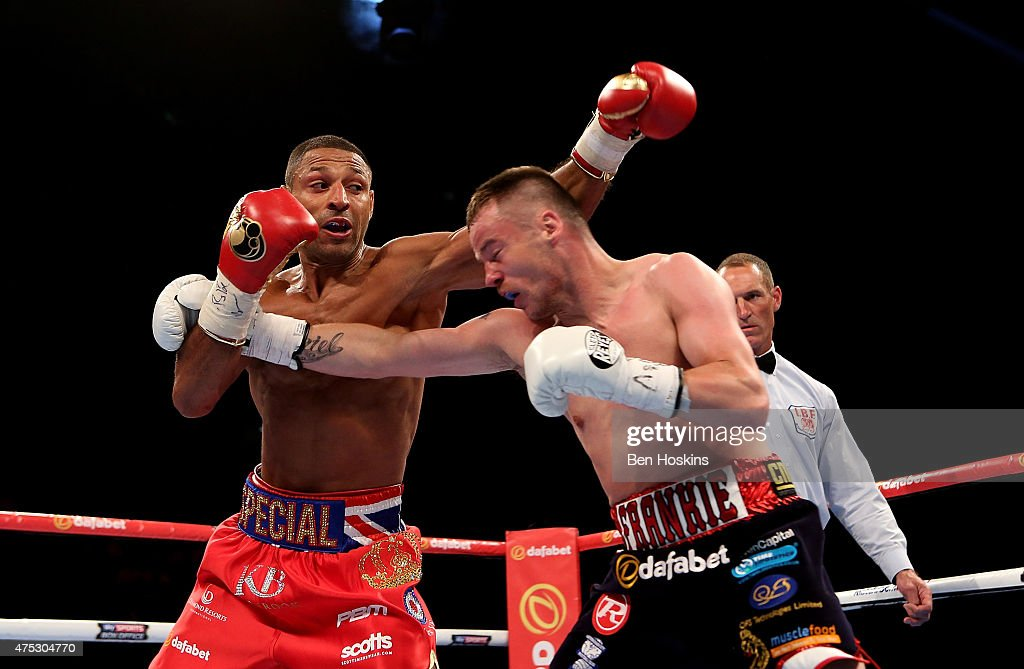 Kell Brook of England and Frankie Gavin of England exchange blows during their IBF World Welterweight Championship bout at The O2 Arena on May 30, 2015 in London, England.