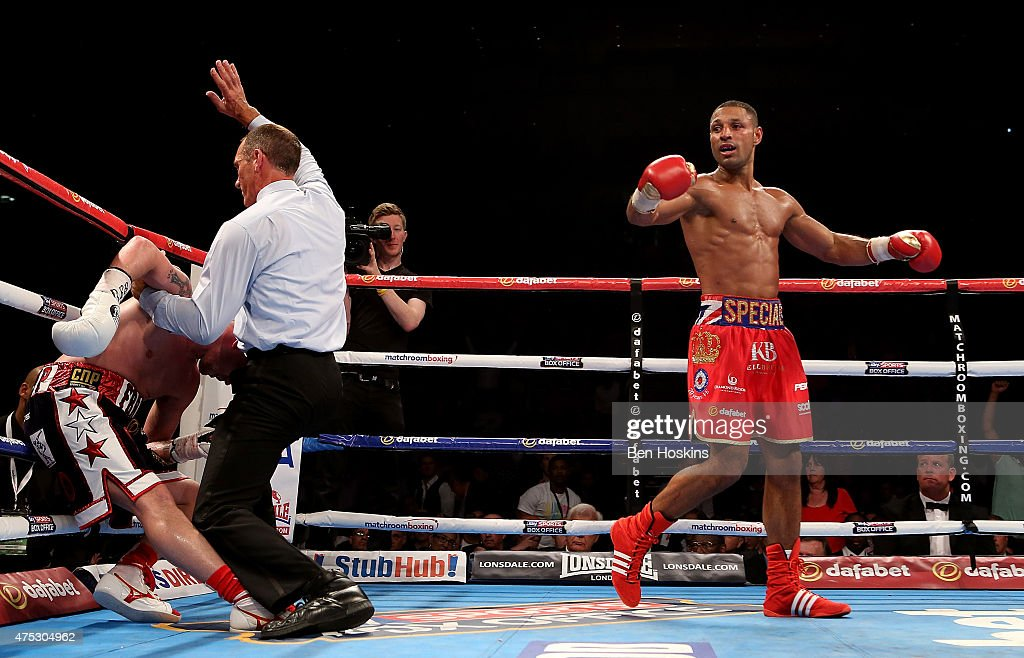 Kell Brook of England celebrates after defeating Frankie Gavin of England during their IBF World Welterweight Championship bout at The O2 Arena on May 30, 2015 in London, England.