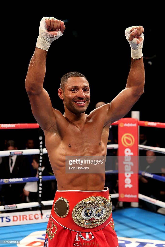 Kell Brook of England poses with the IBF World Welterweight Championship title belt after defeating Frankie Gavin of England at The O2 Arena on May 30, 2015 in London, England.