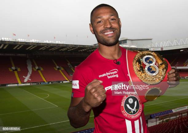 Kell Brook poses for a photo after his press conference with Errol Spence to announce their fight on 27th May 2017 at Bramall lane on March 22 2017...