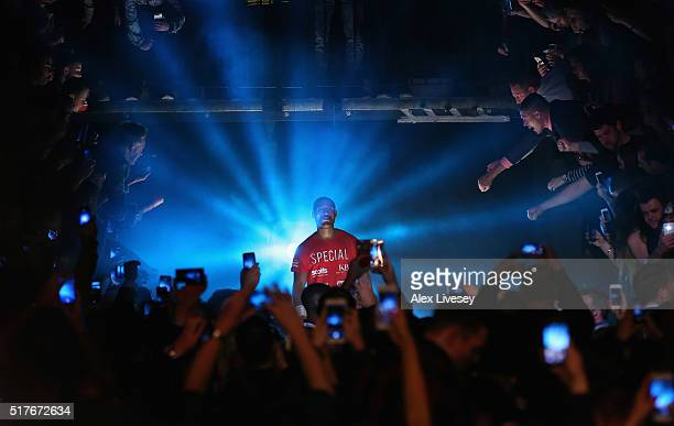 Kell Brook prepares to enter the arena prior to the IBF World Welterweight Championship between Kell Brook and Kevin Bizier at Sheffield Arena on...