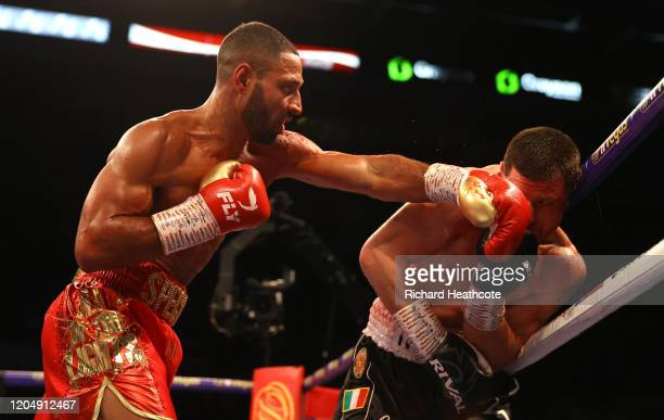 Kell Brook punches Mark DeLuca during the WBO Intercontiental SuperWelterweight Title Fight between Kell Brook and Mark DeLuca at FlyDSA Arena on...