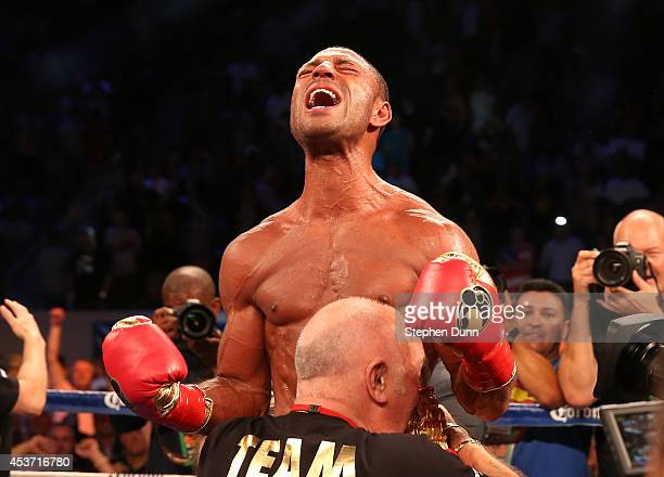 Kell Brook reacts after getting the decision over Shawn Porter in their IBF Welterweight World Championship fight at StubHub Center on August 16 2014...