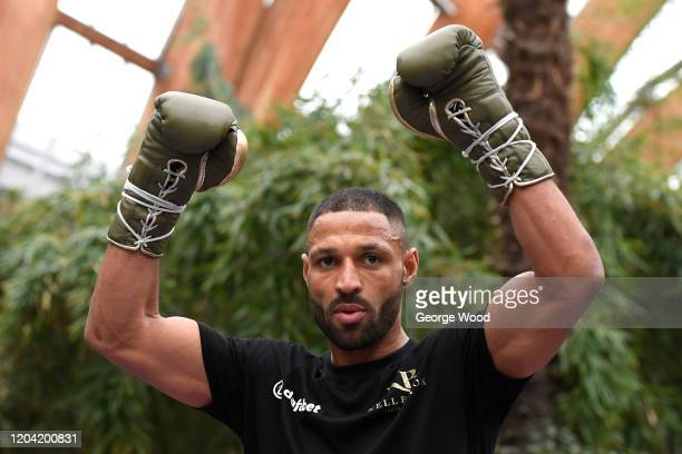 Kell Brook reacts during the Kell Brook Media Workout on February 05, 2020 in Sheffield, England.