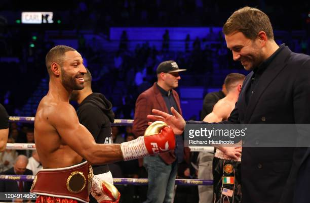 Kell Brook speaks to Eddie Hearn in the ring after the WBO Intercontiental SuperWelterweight Title Fight between Kell Brook and Mark DeLuca at FlyDSA...