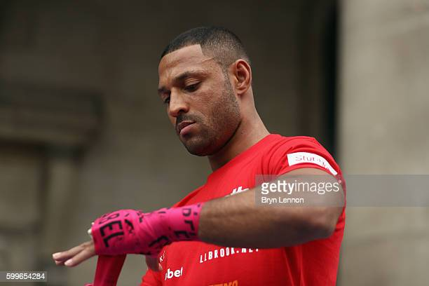 Kell Brook takes part in a public workout ahead of his fight against Gennady Golovkin in Covent Garden on September 6 2016 in London England