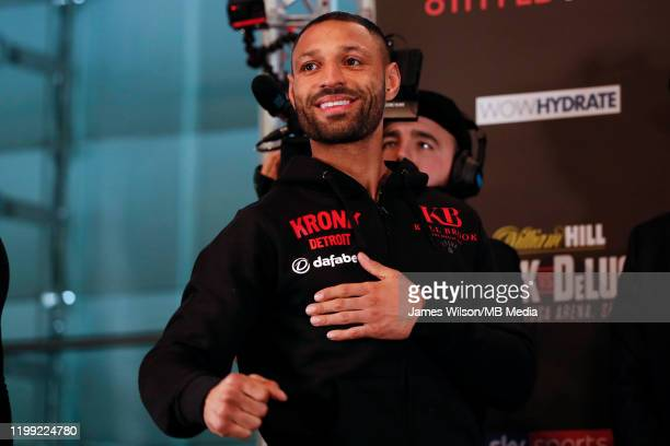 Kell Brook weighs in at Millennium Gallery prior to his WBO InterContinental Super Welterweight bout with Mark DeLuca on Saturday night at the FlyDSA...