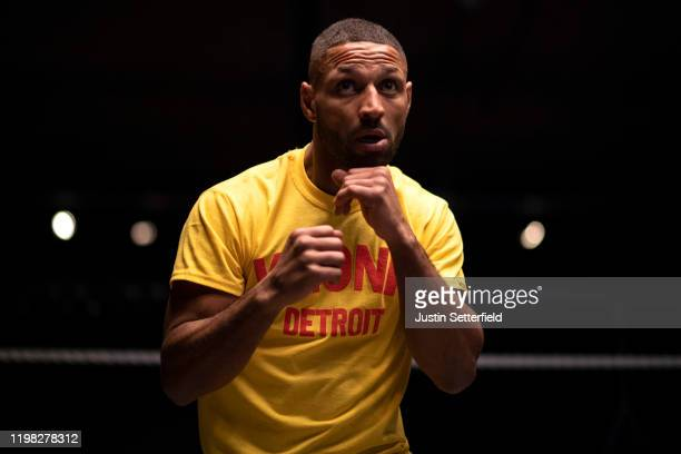 Kell Brook works out ahead of his fight with Mark DeLuca on February 8 during a Kell Brook Media Workout at the 12x3 gym on January 08, 2020 in...