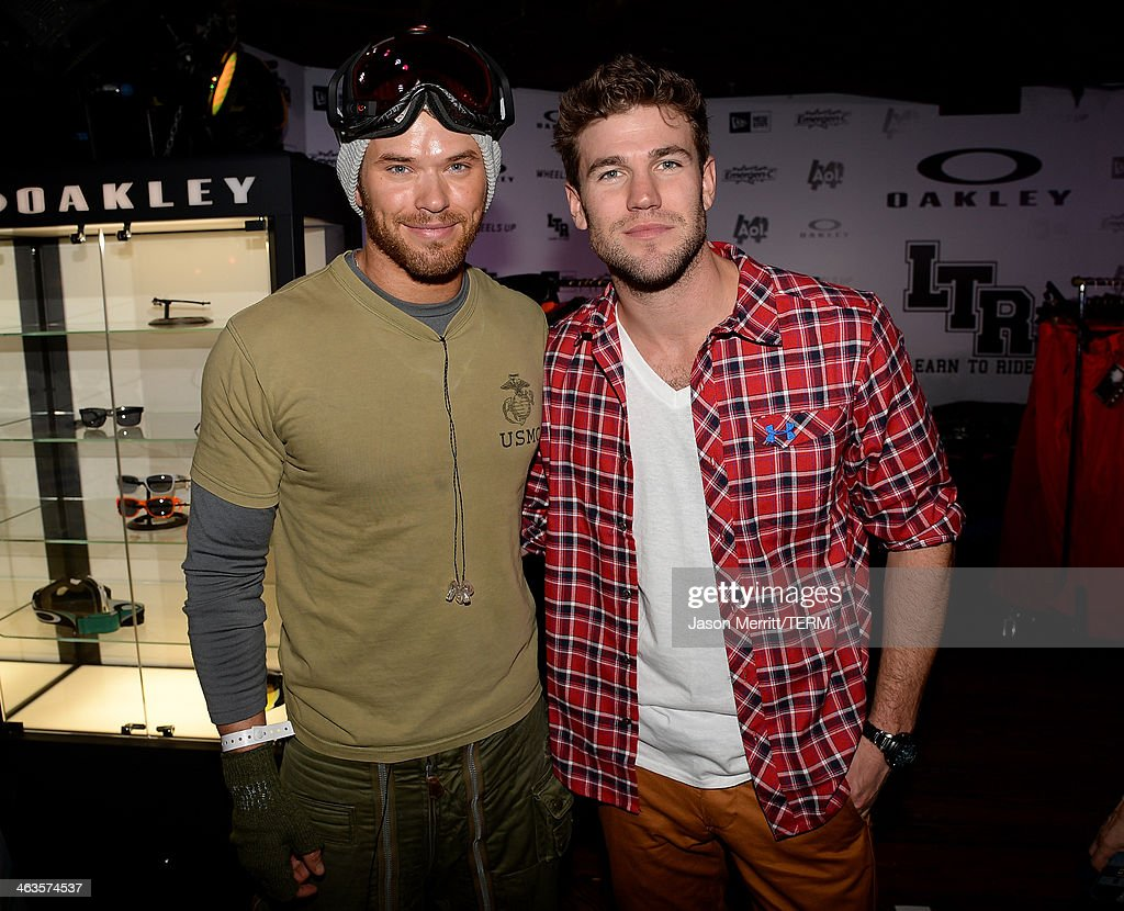 Kellan Lutz and Austin Stowell attend Day 2 of Oakley Learn To Ride With AOL At Sundance on January 18, 2014 in Park City, Utah.