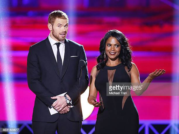 Kellan Lutz and Nia Long speak onstage during the 19th Annual Critics' Choice Movie Awards held at Barker Hangar on January 16 2014 in Santa Monica...