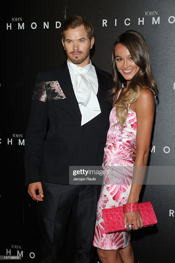 Kellan Lutz and Sharni Vinson arrive at the John Richmond show as part of Milan Fashion Week Menswear Spring/Summer 2013 on June 25, 2012 in Milan, Italy.
